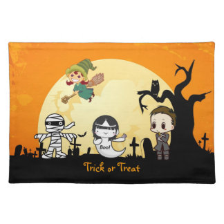 Cute Mummy Ghost Witch Priest - Kids Halloween Placemats