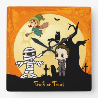 Cute Mummy Ghost Witch Priest - Kids Halloween Square Wallclock