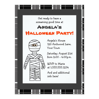 Cute Mummy Grey Plaid Halloween Party Invitations