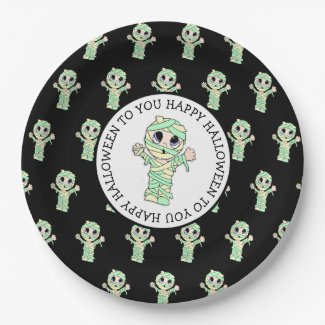 Cute Mummy Halloween Party Paper Plate