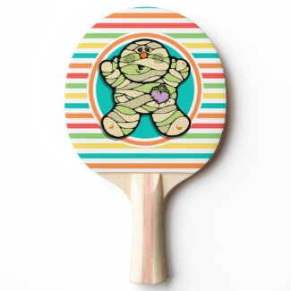 Cute Mummy on Bright Rainbow Stripes Ping Pong Paddle