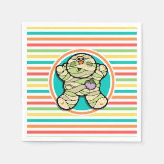 Cute Mummy on Bright Rainbow Stripes Paper Napkin