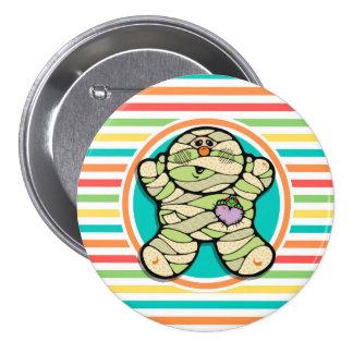 Cute Mummy on Bright Rainbow Stripes Pin