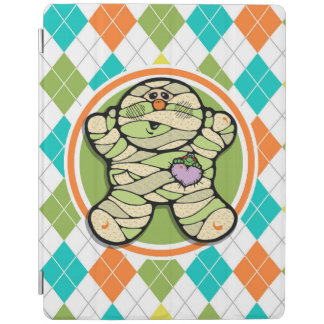Cute Mummy on Colorful Argyle Pattern iPad Cover