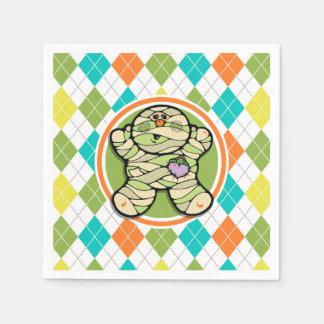 Cute Mummy on Colorful Argyle Pattern Paper Napkin
