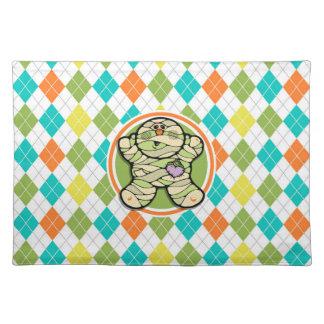 Cute Mummy on Colorful Argyle Pattern Place Mat