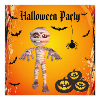 Cute Mummy & Pumpkins Halloween Party Card