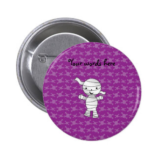 Cute mummy purple skulls pinback button