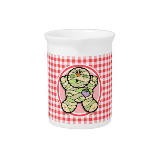 Cute Mummy Red and White Gingham Beverage Pitchers