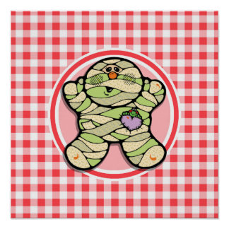 Cute Mummy; Red and White Gingham Posters