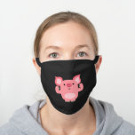 Cute Muscled Cartoon Pig Black Cotton Face Mask