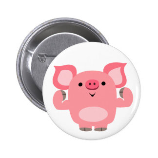 Cute Muscled Cartoon Pig Button Badge