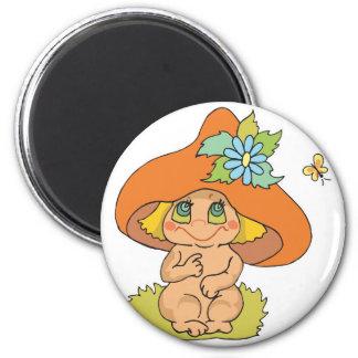 cute mushroom gnome elf fridge magnet