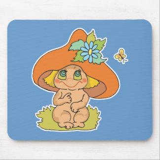 cute mushroom gnome elf mouse pad