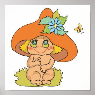 cute mushroom gnome elf print