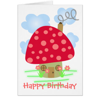 Cute Mushroom House Card