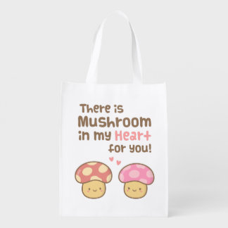 Cute Mushroom in my Heart For You Love Pun Reusable Grocery Bag