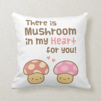 Cute Mushroom in my Heart For You Sweet Love Throw Pillow