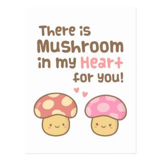 Cute Mushroom in my Heart For You Sweet Pun Postcard