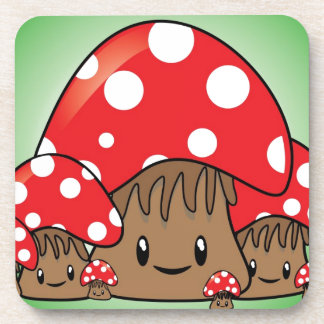 Cute Mushrooms on green background Coaster