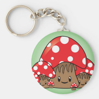 Cute Mushrooms on green background Keychain