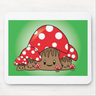 Cute Mushrooms on green background Mouse Pad