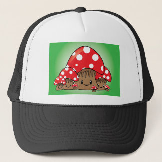 Cute Mushrooms on green background Trucker Hat