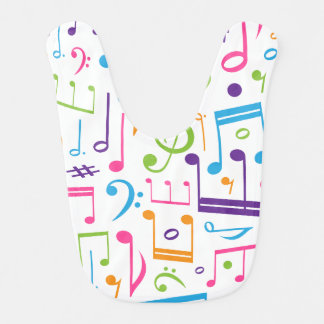 Cute Music Notes and Symbols Baby Bib