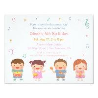 Music birthday invitations announcements zazzle cute music themed kids birthday party invitations filmwisefo