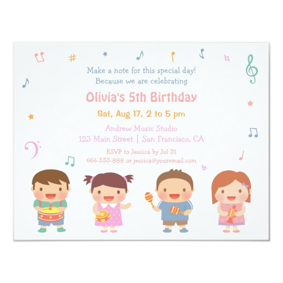 Cute Music Themed Kids Birthday Party Invitations