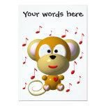 Cute musical monkey 5x7 paper invitation card