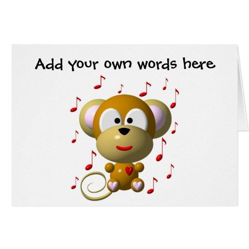 Cute musical monkey greeting card