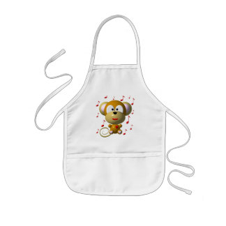 Cute musical monkey kids' apron