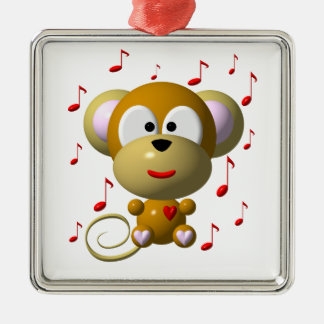 Cute musical monkey metal ornament