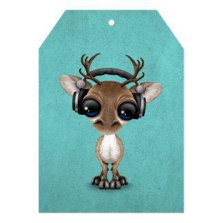 Cute Musical Reindeer Dj Wearing Headphones Blue Card