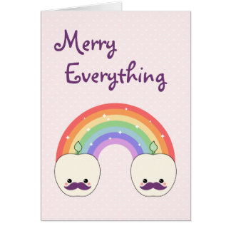 Cute Mustache Apple Holiday Card