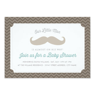 Cute Mustache Baby Shower Invitation