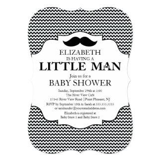 Cute Mustache Bash Boys Baby Shower Chevron Card