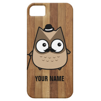 Cute mustache brown owl - Personalized iPhone 5 Cover