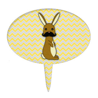 Cute Mustache Bunny Cartoon Cake Topper