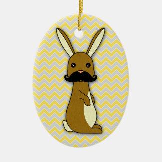 Cute Mustache Bunny Cartoon Ceramic Ornament