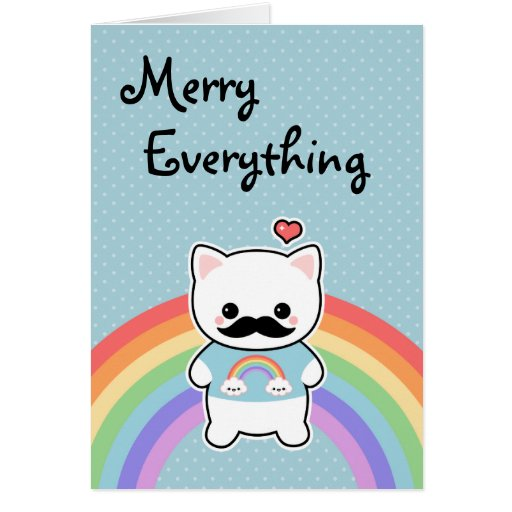 Cute Mustache Cat Holiday Cards