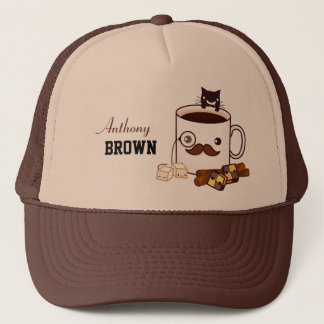 Cute mustache coffee cup and cat - Personalized Trucker Hat