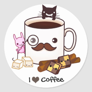 Cute mustache coffee cup and kawaii animals classic round sticker