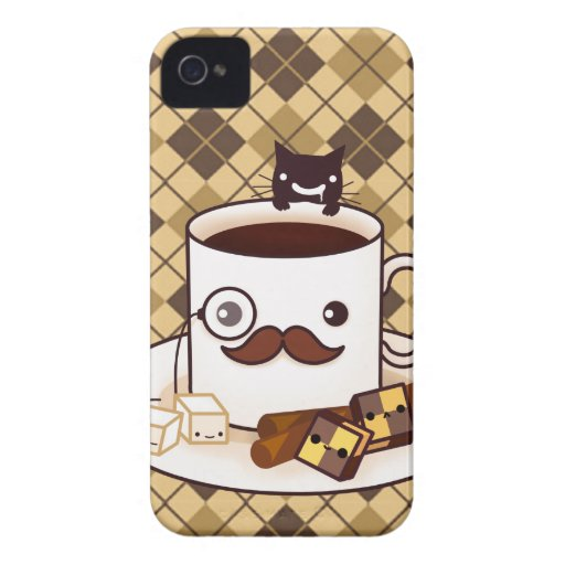 Cute mustache coffee cup on brown argyle iPhone 4 covers