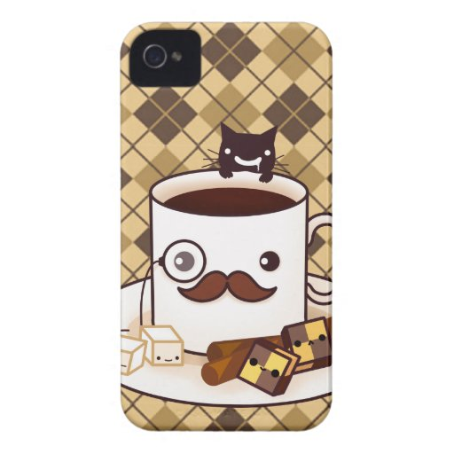 Cute mustache coffee cup on brown argyle iPhone 4 Case-Mate cases