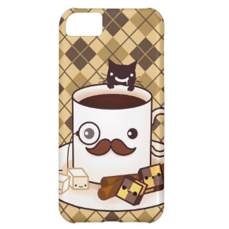 Cute mustache coffee cup on brown argyle cover for iPhone 5C