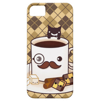 Cute mustache coffee cup on brown argyle iPhone SE/5/5s case