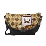 Cute mustache coffee cup on chocolate argyle courier bags
