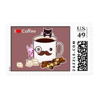 Cute mustache coffee cup with biscuits and bunny postage